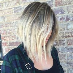 Ice Blonde Inverted Bob Haircut