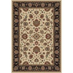 Concord Global KENSINGTON Rectangular Cream Floral Woven Area Rug (Common: 7-ft x 10-ft; Actual: 6-ft 6-in x 12-ft)