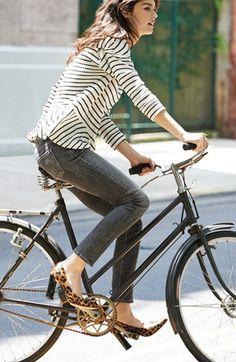 Perfect photo: girl, bike, stripes, grey jeans, cheetah heels--wowzers! :) #girl #bike #fashion