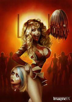 zombie cheerleader funny photoshop pin up girl horror decapitation digital art by Serge Birault