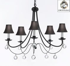 """A7-SC/B6/403/5 - Empress Crystal (tm) Wrought Iron Chandelier Chandeliers Lighting H.22.5"""" x W.26"""" With Shades!  114"""