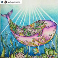 Bom Dia Pessoal!! Essa baleia é um dos desenhos mais lindos do livro Oceano Perdido. Da pra brincar bastante com ela e fazer fundos incríveis!  Perfeita a baleia do @alebavaresco ・・・ Lester, a baleia encantada!