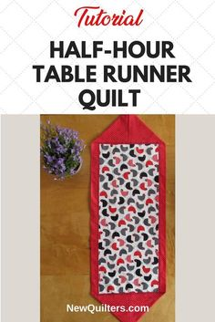 Here's a fun table runner you can make from start to finish in about half an hour. All you need is two coordinating fabrics and this blog post. Tutorial from NewQuilters.com #tablerunner, #quiltingforbeginners, #easyquilts, #simplequilts, #tabledecoration Table Runner Tutorial, Table Runner Pattern, Table Runner And Placemats, Quilted Table Runners, Quilting For Beginners, Quilting Tips, Quilt Tutorials, Sewing Tutorials, Sewing Ideas