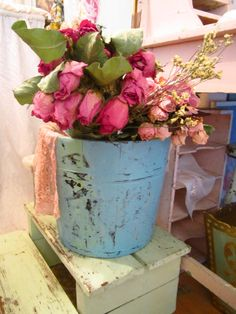 RESERVED for Chelsey Vintage chippy painted pale aqua shabby chic  farmhouse bucket. $89.00, via Etsy.