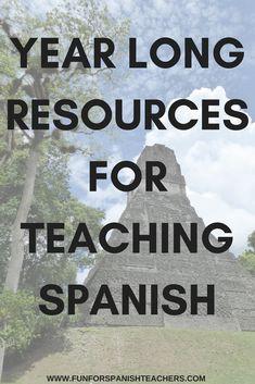 Year Long Spanish Resources for Elementary Spanish Curriculum - Big Bundle Spanish Teaching Resources, Teacher Resources, Spanish Immersion, Elementary Spanish, Spanish Teacher, Foreign Language, Interactive Notebooks, Curriculum, Worksheets