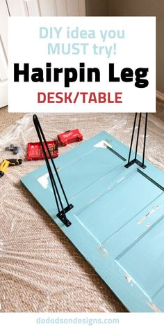 DIY Hairpin Leg Desk That Anyone One Can Create I added hairpin legs and a little paint to my Grandma's old door and made a functional DIY desk for my home office. I'm so glad I did! Diy Furniture Decor, Diy Furniture Projects, Repurposed Furniture, Furniture Makeover, Diy Door Projects, Diy Furniture Repurpose, Furniture Design, Furniture Refinishing, Unique Furniture