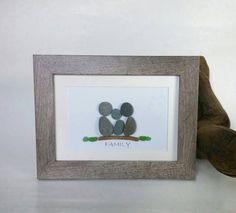 Pebble art family of 3 / Family pebble art / Nova Scotia pebble art / Sea glass art / Seaglass family / Gift for her / Family Christmas gift by ScotiaGlass on Etsy https://www.etsy.com/uk/listing/484626890/pebble-art-family-of-3-family-pebble-art