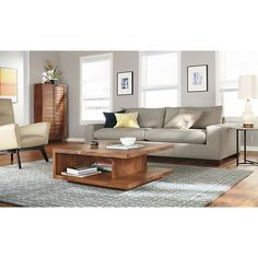 Graham Cocktail Tables - Morrison Sofa with Chaise Living Room - Modern Living Room Furniture - Room