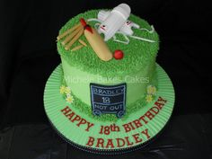 A cricket themed cake for a keen cricket player, the cake is covered in buttercream as the recipient doesn't like fondant icing.