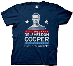 The Big Bang Theory Vote Dr. Sheldon Cooper for President Navy Mens T-shirt (Adult XX-Large) @ niftywarehouse.com