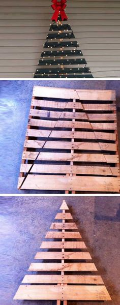 Pallet Christmas Tree | Click Pic for 20 DIY Christmas Decorations for Home Cheap | DIY Christmas Decorations Dollar Store