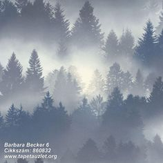Barbara Becker Misty Forest Wallpaper in blue features a mysterious forest design ideal for bringing a touch of nature into your home. Blue Grey Wallpaper, Forest Wallpaper, Luxury Wallpaper, Contemporary Wallpaper, Tree Wallpaper, Textured Wallpaper, Wallpaper Ideas, Stunning Wallpapers, Living Room
