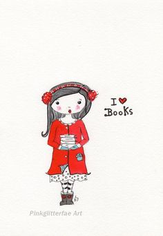 Book lover Whimsical Illustration Children's art Red coat. $15.00, via Etsy.