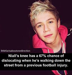 Niall's knee has a chance of dislocating when he's walking own the streey from a previous football injury. One Direction Facts, I Love One Direction, Liam James, James Horan, While We're Young, Knee Cap, 1d Imagines, Cher Lloyd, Crutches