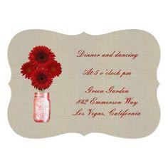 "Burlap Rustic Red Mason Jar Reception Card 5"" X 7""  Invitation Card http://www.zazzle.com/burlap_rustic_red_mason_jar_reception_card_invitation-161695391162638885?printquality=4color&rf=238271513374472230  #wedding  #weddinginvitations"