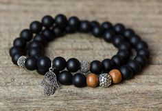 BLACK ONYX BRACELET / mens mala bracelet / by AlisonStorryJewelry $68.00