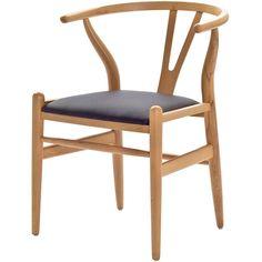 Mid-Century Modern Natural Wishbone Chair Black Cushion