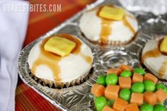 April Fool's Day cupcakes! Mashed potatoes, peas & carrots, spaghetti & meatballs, corn on the cob...