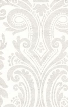 Metallic Silver Damask Wallpaper