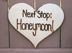 Next Stop: The Honeymoon Rustic Wood Heart Sign (Photo Booth, Prop Reception, Car Decoration) perfect for outdoor and garden Wedding Decor, Wedding Signs, Our Wedding, Dream Wedding, Destination Wedding, Wedding Vows, Wedding Stuff, Lace Wedding, Honeymoon Destinations