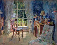 Bedroom with Lake View (oil on canvas) Artist: Susan Ryder