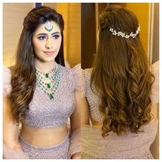 Lehenga Hairstyles, Hairstyles For Gowns, Open Hairstyles, Easy Hairstyles For Long Hair, Wedding Hairstyles For Long Hair, Amazing Hairstyles, Hairstyle For Indian Wedding, Round Face Hairstyles Long, Indian Hairstyles For Saree