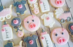This Little Piggy Baby Shower Cookies Hayley Cakes And - This Little Piggy Baby Shower Cookies Set Includes Large Cookies Writing Text On Cookie Color Choice Make The Colors Exactly Like The Picture No I Want To Pick My Own Torta Baby Shower, Pig Baby Shower, Bebe Shower, Baby Shower Vintage, Baby Girl Shower Themes, Baby Shower Cookies, Shower Party, Baby Shower Parties, Piggy Cake