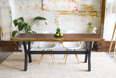 The Andrea: Walnut Live Edge Slab Dining Table – Moderncre8ve