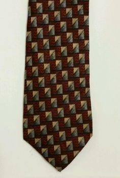 NEW Roundtree and Yorke Geometric 100% Silk Multi Color Classic Mens Neck Tie #RoundtreeYorke #Tie