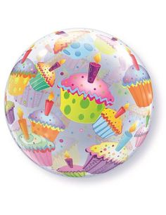 """Colourful Cupcakes 22""""/55cm Round Bubble Qualatex Balloon. Perfect for a happy birthday balloon."""