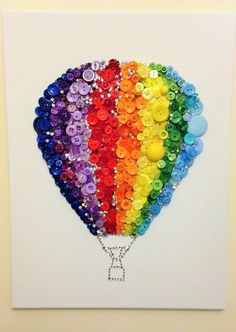 Rainbow Crafts, Rainbow Art, Rainbow Colors, Rainbow Stuff, Cadre Diy, Color Wheel Projects, Color Wheel Art, 100 Day Of School Project, Button Picture