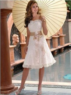 Country Western Style Wedding Gowns Strapless Knee Length Short Dress