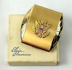 Elgin American vintage USA Eagle Emblem Military Patriotic Gold Compact +Box