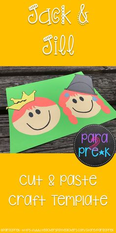 Preschool Nursery Rhymes Cut and Paste Craft Template for Jack and Jill! Includes template and instructions for creating this cute craft project!
