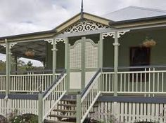 Australian porches, verandas entrances - clever use of a filigree door & railings to secure front verandah Timber Staircase, Wooden Staircases, Australian Architecture, Australian Homes, Colonial Architecture, Exterior Paint Colors For House, Exterior Colors, Veranda Railing, Front Verandah