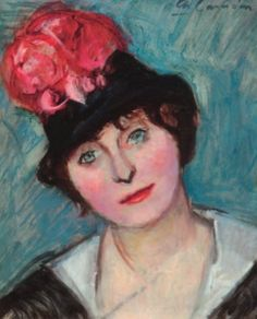 Charles CAMOIN 1879-1965  FEMME AU CHAPEAU BLEU À LA ROSE, 1908 Huile sur p