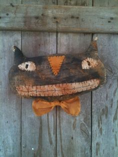 Primitive Large Black Cat smiling Halloween Door Charmer greeter doll extreme  #NaivePrimitive