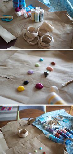 hand painted wood bangles DIY