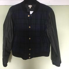 J Crew Blackwatch Plaid Wool Baseball Jacket XXL J Crew Blackwatch Plaid blue/navy/black baseball style jacket with faux leather sleeves.  Brand new with tags. xXL J. Crew Jackets & Coats
