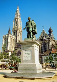 Peter Paul Rubens Statue in front of buildings, Cathedral of Our Lady, Antwerp, Belgium.  -  Discover Antwerp with Citypath, the ultimate digital city platform for tourists & locals! Go to: antwerp.citypath.eu