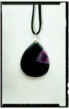 Purple and Black Druzy Geode Agate by EnchantedCrystalDsgn on Etsy Crystal Design, Leather Cord, Purple And Black, Enchanted, Agate, Pendants, Pendant Necklace, Sterling Silver, Crystals