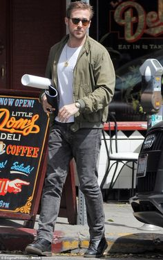 Grand day out: Ryan Gosling was spotted heading off after lunching in Los Angeles on Tuesday