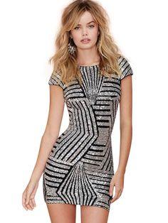 Gold Sequins Geometric Sheath Slim Backless Mini Dress