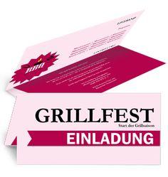 Rosa farbige Einladungskarte zur Grillparty. #grillparty #einladungskarte #einladung