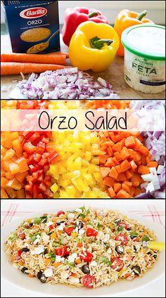 Orzo Salad. Lots of fresh veggies packed into this simple to make salad.  www.joyineveryseason.com