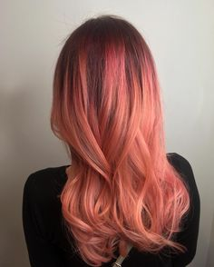 gorgeous coral hair by @hair_lett made with Redken City Beats | magenta hair, vivid hair, haircolor ideas, magenta melt