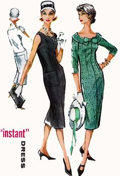 1950s Wiggle Chemise Instant Dress McCalls 4596 Vintage 50s Rockabilly Sewing Pattern Plus Size 18 Bust 36 by sandritocat on Etsy