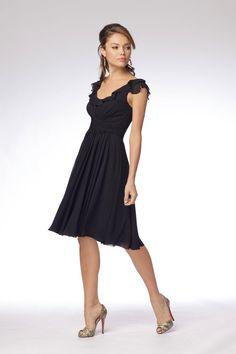 Black Bridesmaid Dresses Short Ruffled Chiffon Sleeves Knee Length - $88