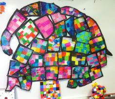 Elmer the Elephant Window/Wall Display: Black butcher paper cut into a large… Cutting Activities, End Of Year Activities, Book Activities, Class Displays, Classroom Displays, Elmer The Elephants, End Of Year Party, Reception Class, Mondrian Art