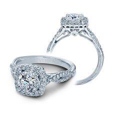 Verragio Classic Diamond Halo Engagement Ring Setting 14k White Gold